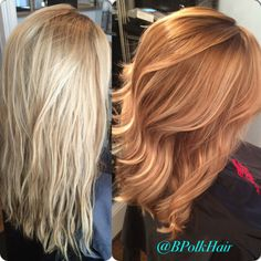 Before & after - from blonde to rich copper balayage