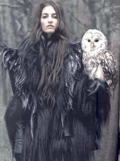 Vogue Paris October 2006, 'Conte d'hiver,' ph. by Mark Segal, Models Marcelina Sowa  Suzanne Diaz - with owl #photography #fantasy