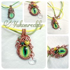 This crying dragon's eye is shedding one crystal tear. It is a hand painted glass eye and is wrapped in copper on two tones of silicone cord.