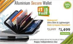 This stylish wallet is ultra-slim with aluminum casing, has smooth finish on both sides. Inside have 7 pockets to store all your credit cards, ID cards, club cards, cash, photos and more. It is waterproof, stain & impact-resistant as it has resin shell inside. Also it has safety lock to protect your valuable from thieves. Compact, strong and light that fits perfectly inside the pocket and virtually indestructible. Also can be treated as a gift