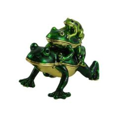 """3 Piggyback Frogs Trinket Box Collectible Figurine by EchoMerx. $19.99. Comes in a satin lined gift box.. Two of the frogs open and have magnetic closure.. Boutique quality.  3""""L x 2""""W x 2-1/4""""H. This adorable piggyback frog trinket box is adorned with hand painted enamel. Their eyes are black crystals. 24k gold plating. Two of the frogs open and have magnetic closure.  3""""L x 2""""W x 2-1/4""""H. Comes in a satin lined gift box."""