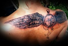 traditional clock tattoo | time fly tattoo on back by virlaneduard