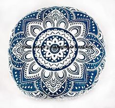 Both Side has White Base on Green & Blue Color Ombre Mandala Pattern. This is a Cotton Fabric Mandala Printed Round Cushion Pillow Cover. Mandala Print, Mandala Pattern, Cushion Covers, Pillow Covers, Round Ottoman, Floor Cushions, Boho, Pillow Inserts, Ebay