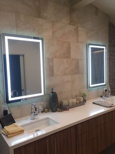 A simple set up by one of our very own! Icon mirrors shinning as bright ad can be in our customers home!   For more luxurious selections please visit WWW.KRUGG.US  #Krugg#Lighting#LED#Bathroom#WallMount#Dimmer#Defogger#Silver#DirectionalLighting#MakeupMirror#Beauty#DoubleSink#Designers#Contractors#DesignIdeas#BathroomInspiration#Remodeling#Renovation