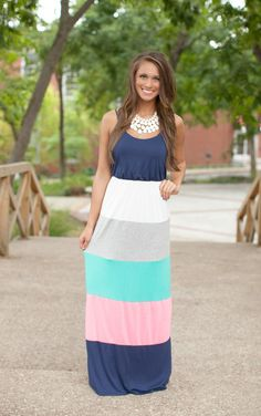 The Pink Lily Boutique - Keepin Up Colorblock Maxi Navy , $39.00 (http://thepinklilyboutique.com/keepin-up-colorblock-maxi-navy/)
