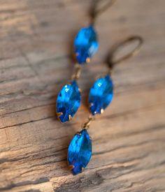 Sapphire Blue Earrings  Swarovski Crystal Vintage by NotOneSparrow