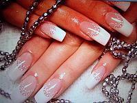 Wedding manicure with white nail polish decoration