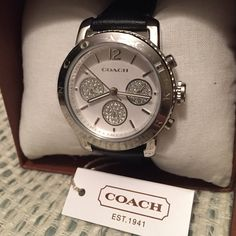FINAL PRICE Coach silver/Leather watch with black adjustable band and gorgeous details! Stack this with bangles or wear solo, it goes with everything! NWT + box (box came apart at one corner but...it's a box) Coach Accessories Watches