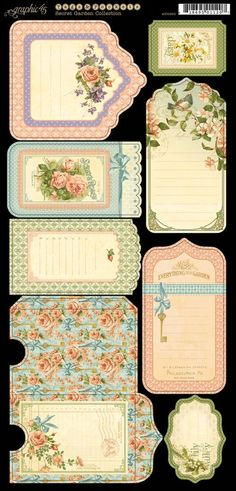 Secret Garden Tags and Pockets 1 from Graphic 45 Motif Vintage, Vintage Tags, Vintage Labels, Vintage Paper, Graphic 45, Printable Labels, Printable Paper, Free Printables, Etiquette Vintage