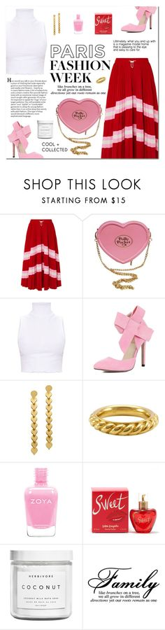 """How to wear a Striped Midi Skirt!"" by disco-mermaid ❤ liked on Polyvore featuring Valentino, Hermès, Lolita Lempicka and Herbivore"