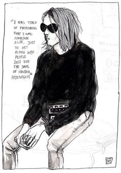 Kurt Cobain quote. Drawing by Lucas David
