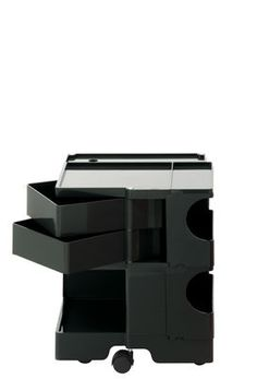 Boby Trolley - H 52 cm - 2 drawers Black by B-LINE