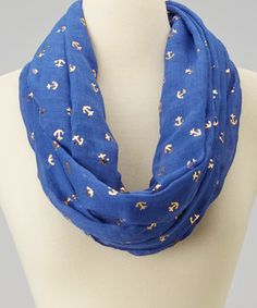 Love this Royal Blue & Gold Anchor Infinity Scarf by Imperial on #zulily! #zulilyfinds