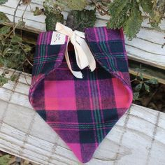 "Dog Bandana Pink Plaid Fleece ""The Autumn"""
