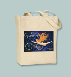 Vintage Cycles Gladiators Central Coast Wines Ads BLACK or NATURAL Canvas Tote - selection of sizes available by Whimsybags on Etsy