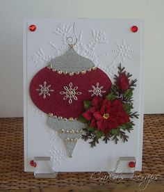 Poinsettia, Christmas Cards, Happiness Shared, Spellbinders 2010 Heirloom Ornament, Glitter Ritz, Stamped 3-D Poinsettia, Northern Flurry Embossing Folder, Carla's Scraps (1)