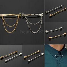 Spilla Cravatta Colletto Camicia Men Tie Clip Bar Clasp Pin Chain Collar Brooch | eBay