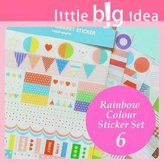Bright Colour Rainbow Sticker Set 6 pcs card making scrapbook craft Stripe Frame 6€