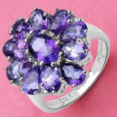 5.05CTW Genuine Amethyst .925 Sterling Silver Ring - http://www.johareez.com/shop/justbuyit/rings/5-05ctw-genuine-amethyst-925-sterling-silver-ring-22243/$10626892