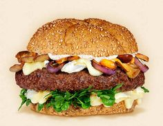 The Seattle:  Wisconsin Brie Cheeseburger Recipe.  Other ingredients:  Pinot Noir glazed wild foraged mushrooms, wild watercress, coffee-spiked mayonnaise, beef patty, sautéed onions, arugula, and whole grain burger bun.   - Wisconsin Milk Marketing Board