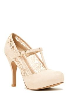 Qupid Trench Laser Cut T-Strap Heel