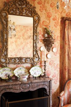 Softly hued drapery & upholstered walls provide delicate counterpoints to more substantial pieces in the master bedroom. French Provincial Home, Upholstered Walls, Victoria Magazine, Arts And Crafts House, Interior Decorating, Interior Design, French Country House, Autumn Home, Traditional House