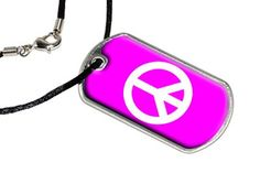 Peace Sign Pink - Military Dog Tag Black Satin Cord Necklace