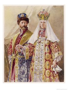 watercolour painting of Nicholas and Alexandra at the 1903 ball in the winter palace