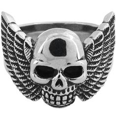 Inox Jewelry Skull and Wing 316L Stainless Steel Ring | Body Candy Body Jewelry