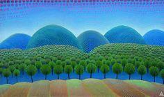 Croatian naive art; Ivan Rabuzin, On the Hills - Primeval Forest  1960, 692x1167 mm, Oil, canvas