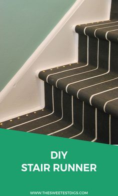 Install your own DIY stair runner using these IKEA throw rugs! Super affordable and easy to do. Get your staircase looking amazing in no time - a great home decor DIY project! Click through for the full how-to tutorial and supplies list.