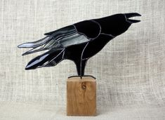 Raven Stained Glass Sculpture on Cherry Base, Stained Glass Bird, Raven Art, Gothic, Crow
