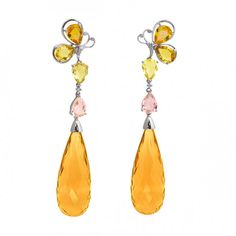 Citrine,multi-colored sapphire and diamond Earrings by Jye