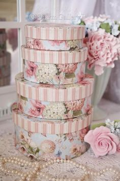 Shabby Chic Hat Boxes in Pink Stripes and Pink Roses