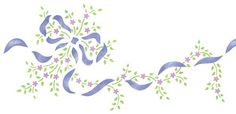 Bow and Flower Border Wall Stencil