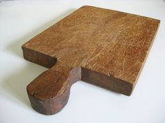 French antique cutting board, primitive wood chopping block with round handle