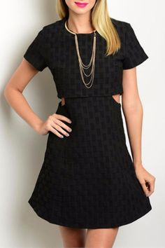 The perfect LBD is here! This short sleeve dress features a round neckline, cut-out side detail and an A-line silhouette. Cut-Out Textured Dress by Humanity. Clothing Columbus, Ohio