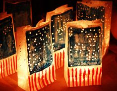 So pretty! Luminaries decorated with American flags for July 4th :)