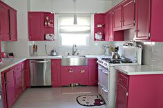Pink Kitchen by our.city.lights. I would not try this at home, but it looks super cute!