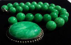 "Signed Antique Green Peking Art Glass Bead Sterling Silver 16"" Art Deco Necklace | eBay"