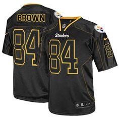 Nike Elite Mens Pittsburgh Steelers #84 Antonio Brown Lights Out Black NFL Jersey$129.99