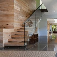 Smoked & Limed American Oak Timber Floors and Staircase. Love how the stairs and wall feel so natural. Balustrades, Glass Balustrade, Royal Oak Floors, Staircase Design, Staircase Glass Railing, Staircase Ideas, Railings, Escalier Design, Glass Stairs