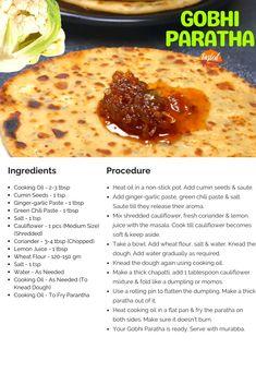 Gobhi Paratha with Wheat Flour | Tasted Recipes Paratha Recipes, Cook N, Indian Food Recipes, Ethnic Recipes, Fresh Coriander, Love Eat, Recipe Today, Recipe Cards