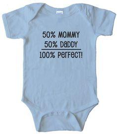 50% MOMMY 50% DADDY - 100% PERFECT - BABY ONESIELight Blue (6 MONTH) Rabbit Skins,http://www.amazon.com/dp/B008R7W5LU/ref=cm_sw_r_pi_dp_keSnrb193RPGS8DX