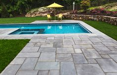 What is bluestone? We wanted to know more about the ever-popular bluestone. Swimming Pool Landscaping, Pool Decks, Swimming Pools, Paver Deck, Bluestone Patio, Patio Stone, Pool Coping, Dream Pools, Patio Ideas