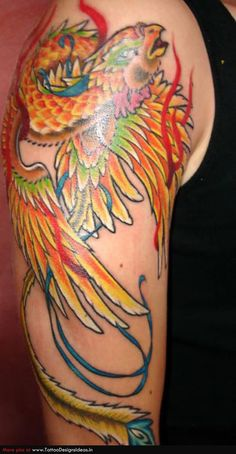 Awesome Colorful Phoenix Tattoo On Right Half Sleeve Latest Tattoos, 3d Tattoos, Popular Tattoos, Small Tattoos, Tattoos For Guys, Sleeve Tattoos, Tattoo Sleeves, Abstract Tattoos, Phoenix