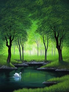 The Forest Queen by Jon Rattenbury, a wall mural from Magic Murals. Easy Landscape Paintings, Nature Paintings, Beautiful Paintings, Beautiful Landscapes, Fantasy Landscape, Landscape Art, Landscape Photography, Nature Photography, Pictures To Paint