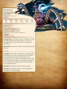 My first try at creating a monster. The Guardian from Zelda. Dungeons And Dragons Homebrew, D&d Dungeons And Dragons, Dnd Stats, Dnd Dragons, Dnd 5e Homebrew, Dragon Rpg, Science Fiction, Dnd Monsters, Pathfinder Rpg
