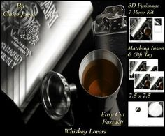 For Whisky Lovers`- Insert & Tag by Claire James 7 piece easy cut, fast kit design with very effective 3D pyrimage/pyrimid. This design comes with matching insert & tag.  I hope you enjoy crafting with my products.