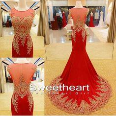 round neckline Chiffon Lace Red Prom Dresses, Formal Dresses #prom #dress #promdress
